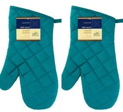2 X Home Collection Turquoise Oven Mitt Gloves Kitchen Heat