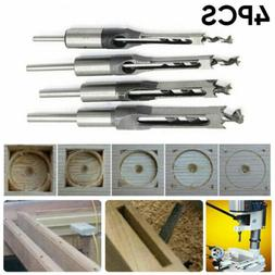 """4X 1/4"""" Woodworking Square Hole Mortising Chisel Drill Bit W"""