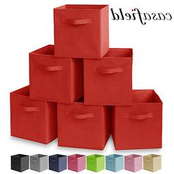 6 Collapsible Foldable Cloth Fabric Cubby Cube Storage Bins