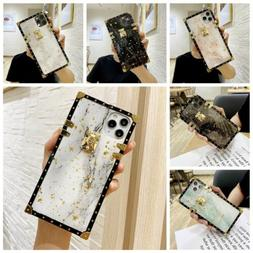 Epoxy Marble Pattern Square TPU Case Cover for iPhone 12 11