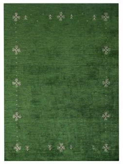 Hand Knotted Silk 8'x11' Area Rug Solid Green BBH Homes BBLS