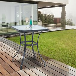 Outdoor Garden Patio Furniture Square Steel & Tempered Glass