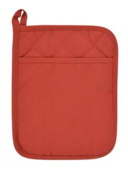 Home Collection Pot Holder with Pocket Red Polyester/Rubber