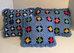 Set of 3 Vintage Handmade Crocheted Granny Square Pillows Ma