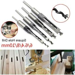 Square Hole Drill Bits Saw Wood Mortising Mortise Chisel Set