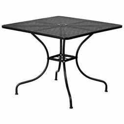 Flash Furniture Square Metal Patio Dining Table in Black