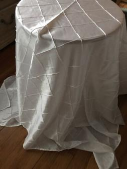 White Square Pintuck Wedding Decorative Table Cloth Overlay