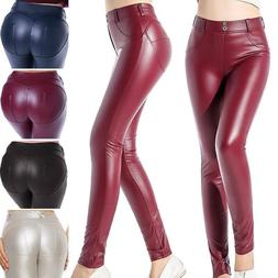 Womens Wet Look Stretchy Yoga Pants Faux Leather Skinny Legg
